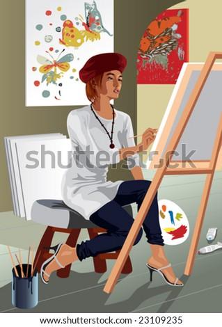 Profession set: attractive painter in her studio - stock vector