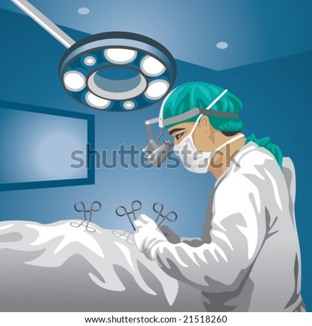 Profession set: Surgeon in operative room - stock vector