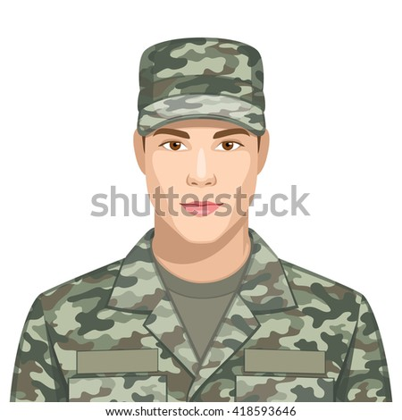 Profession: Soldier - stock vector