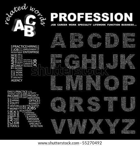 PROFESSION. Vector letter collection. Wordcloud illustration.