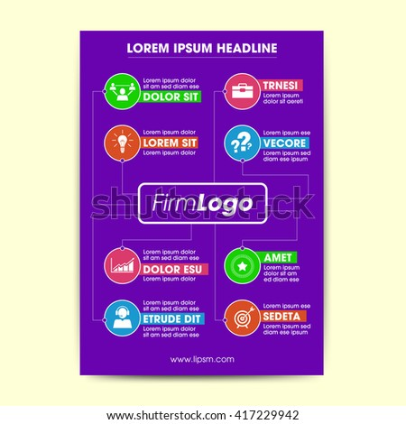Professional and clean design document with various vector icons and typography design. Corporate and minimal layout suitable for different purposes. - stock vector
