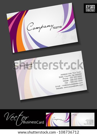 Professional and designer business card template or visiting card set with colorful waves. EPS 10. - stock vector