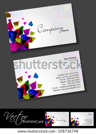 Professional designer business card template visiting stock vector professional and designer business card template or visiting card set with creative abstract design eps reheart Choice Image