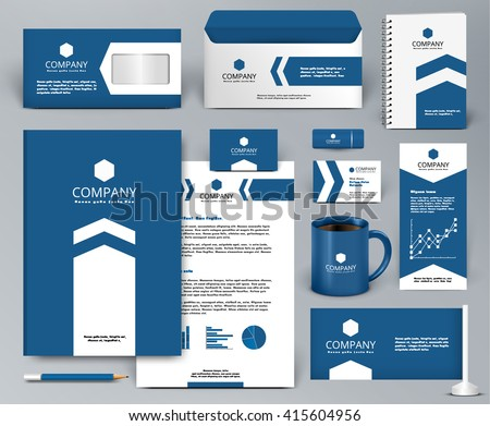 Professional blue luxury branding design kit with arrow for real estate/investment. Premium corporate identity template. Business stationery mock-up. Editable vector illustration: folder, cup, etc.