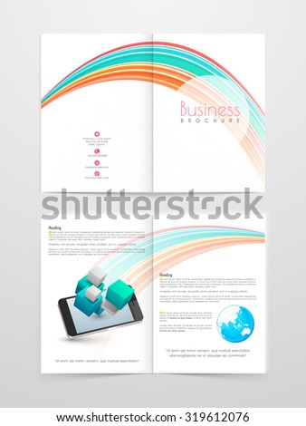 Professional Business Brochure, Flyer, Banner or Template with smartphone and colorful abstract lines. - stock vector