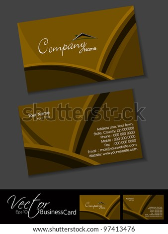 Professional business card or visiting card set creative design in brown color, eps 10, vector illustration easy to edit. - stock vector