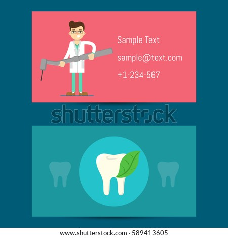 Professional business card template dentists cartoon stock vector hd professional business card template for dentists with cartoon man in medical uniforms holding dentist equipment accmission Images