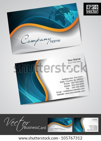 Professional business cards, template or visiting card set. Artistic wave effect with globe, blue color, abstract corporate look, EPS 10 Vector illustration. - stock vector