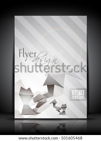 Professional business flyer template or corporate banner design in grey color for publishing, print and presentation. Vector illustration in EPS 10.