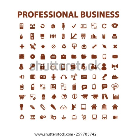 professional business, management, office icons, signs, illustrations concept design set, vector - stock vector