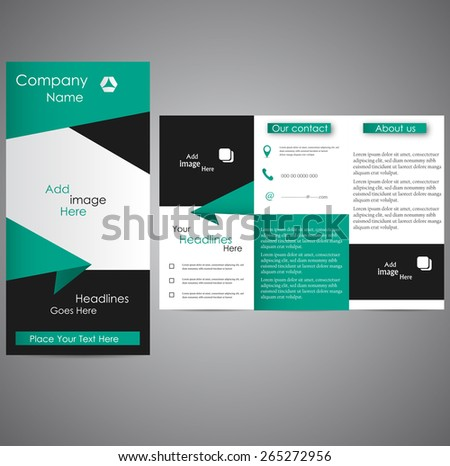 Professional business three fold flyer template, corporate brochure or cover design, can be use for publishing and printing. - stock vector