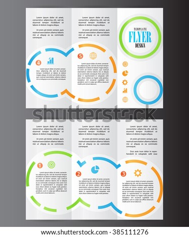 Professional business three fold flyer template, corporate brochure or cover design, can be used for publishing, advertising, printed material and presentation.