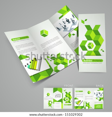 Professional business three fold flyer template, corporate brochure or cover design in green color, can be use for publishing, print and presentation.  - stock vector