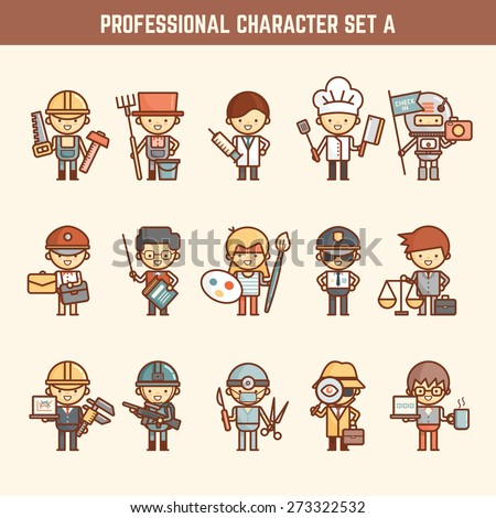 professional character set - stock vector