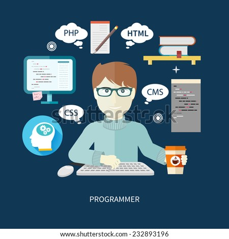 Professional concept with male computer programmer working on computer on his workplace with paper cup of coffee - stock vector