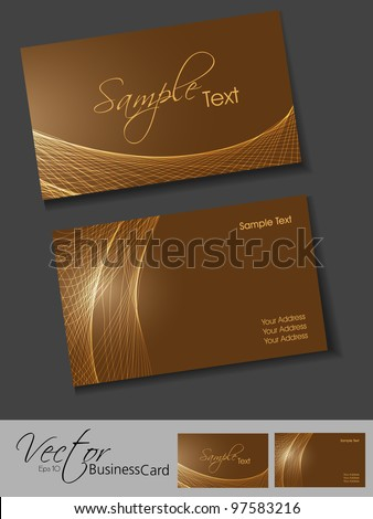Professional corporate business card or visiting card set with shiny wave effects,  in brown bright and shiny color, front and back EPS 10 Abstract vector illustration. - stock vector