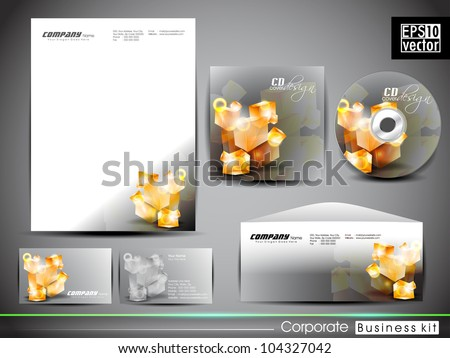 Professional corporate identity kit or business kit with artistic, abstract 3D glowing element for your business includes CD Cover, Business Card, Envelope and Letter Head Designs in EPS 10 format. - stock vector