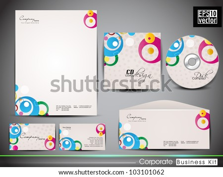 Professional corporate identity kit or business kit with artistic, abstract design for your business includes CD Cover, Business Card, Envelope and Letter Head Designs in EPS 10 format. - stock vector