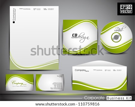 Professional corporate identity kit or business kit with artistic, abstract wave effect for your business includes CD Cover, Business Card, Envelope and Letter Head Designs. EPS 10. - stock vector