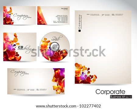Professional corporate identity kit or business kit with artistic, colorful floral, abstract and wave effect for your business includes CD Cover, Business Card, Envelope and Letter Head Designs. - stock vector