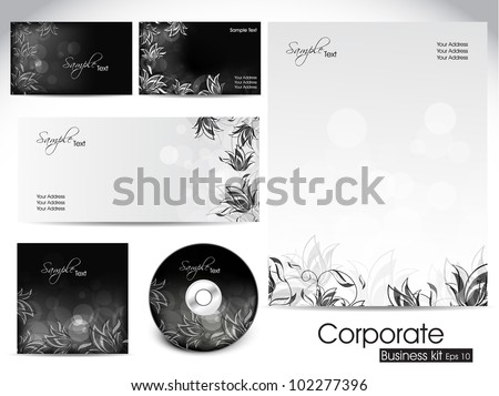 Professional corporate identity kit or business kit with artistic, floral design for your business includes CD Cover, Business Card, Envelope and Letter Head Designs in EPS 10 format. - stock vector