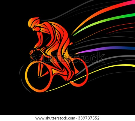 Professional cyclist in a bike race. Vector artwork in the style of paint strokes on black background. Vector illustration - stock vector