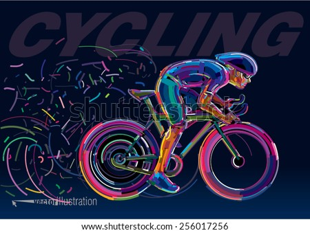 Professional cyclist involved in a bike race. Vector artwork in the style of paint strokes. - stock vector