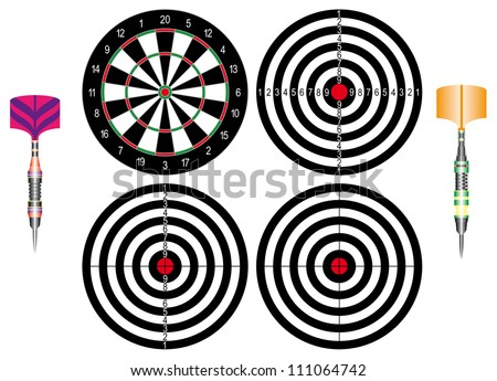 Professional darts. Set of Dartboards and of Classic darts on white background.