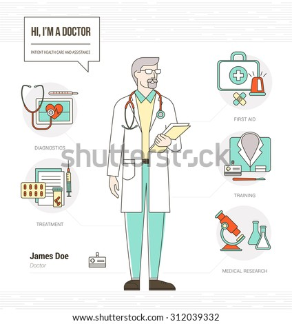 professional doctor infographic skills resume with tools medical equipment and icons set