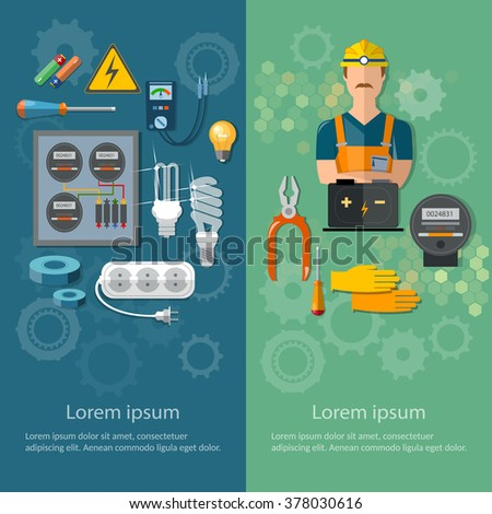 Professional electrical banners electricity energy electric tools and equipment vector illustration - stock vector