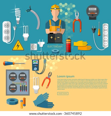 Professional electrical electric man in yellow hard hat electricity energy electrical household supplies vector banners - stock vector