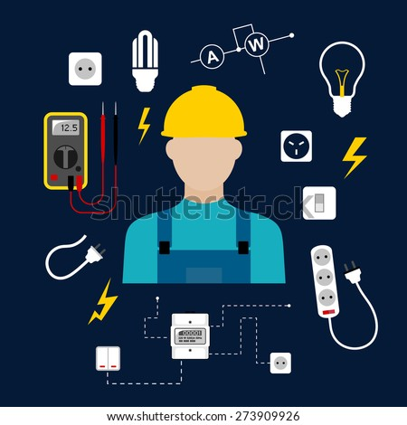 Professional electrician concept with electric man in yellow hard hat with electrical household supplies, electric tools and equipments symbols on dark background for profession or industry design