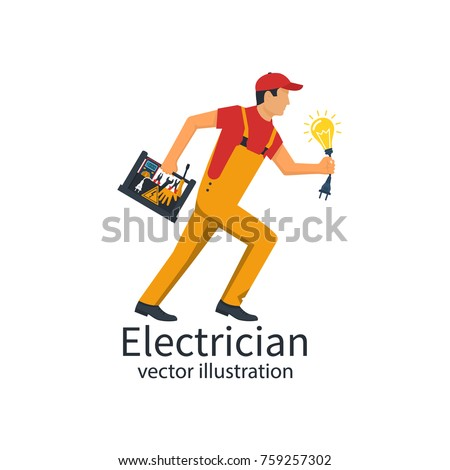 Professional electrician. Electrician with the toolbox is running for service. Equipment tools and a light bulb with plug in hand. Vector illustration flat design. Isolated on white background.
