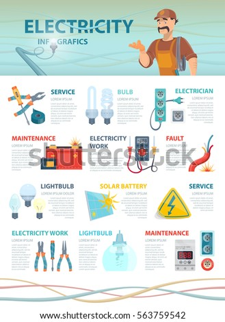 professional electrician infographic template colorful electrical