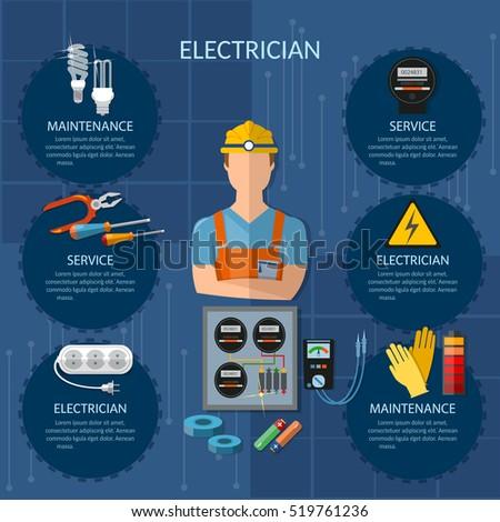 electric stockfoto s rechtenvrije afbeeldingen en vectoren professional electrician infographics electricity tools installation and repair electrical equipment installation of electric meter vector illustration