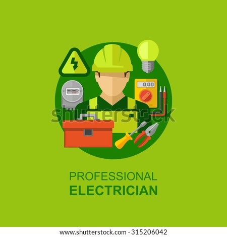 Professional electrician with electricity tools and equipment flat icons vector illustration  - stock vector