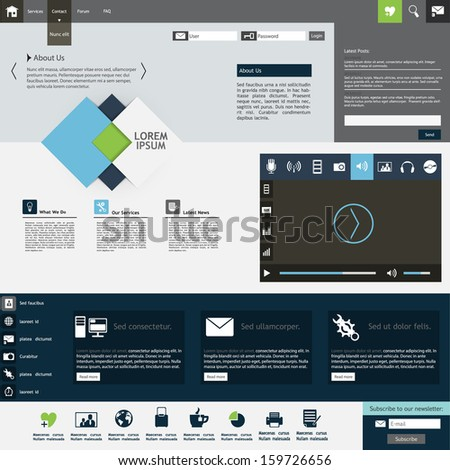 Professional Flat Web Design Template - stock vector