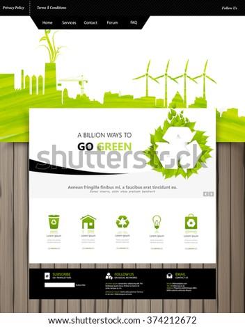 Professional Green Eco Website Design Vector - stock vector