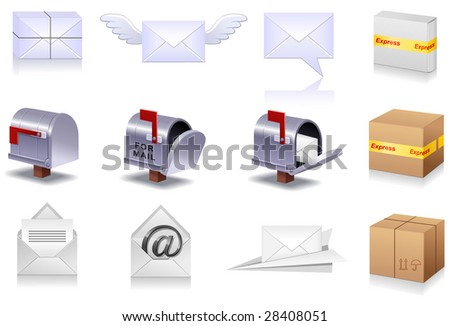 Professional icon set of a mail for your site - stock vector