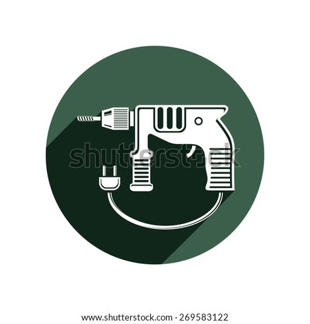 Professional instrument simple illustration, electric power tool. Building and manufacturing theme icon, vector drill symbol. - stock vector