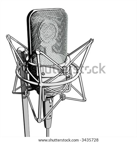 Professional microphone - stock vector