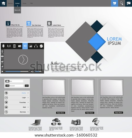 Professional Minimalist Clean Business Website Template Design - stock vector