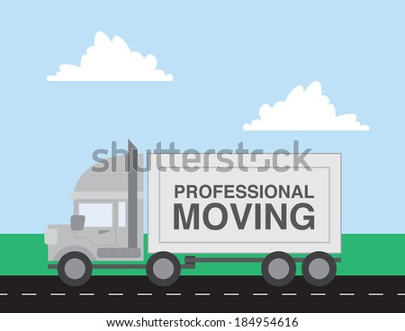 Professional moving truck driving down the road  - stock vector
