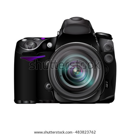 Professional photo camera dslr realistic vector icon isolated on white background