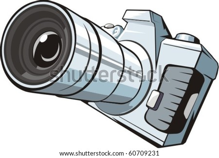 professional photo camera with big lens - stock vector