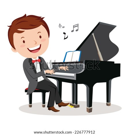 professional pianist. Rehearsal before concert pianist . - stock vector