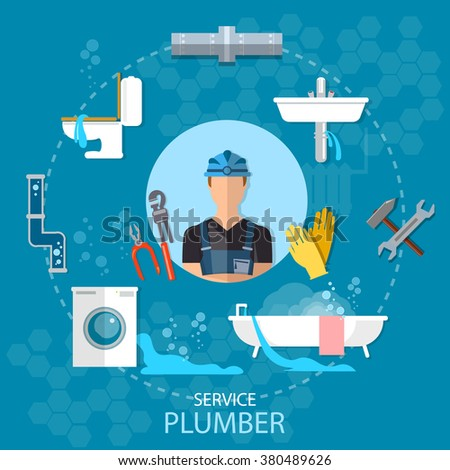 Professional plumber plumbing repair service different tools and accessories vector illustration - stock vector