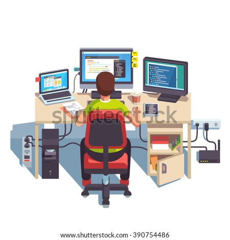 Professional programmer working writing code at his big desk with multiple displays and laptop computer. Flat style color modern vector illustration. - stock vector
