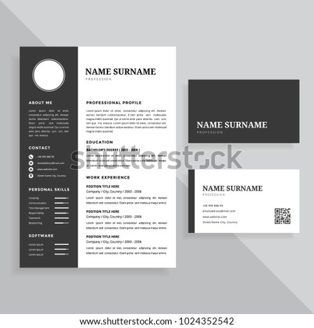 professional resume cv and business card template design set