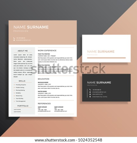 Professional Resume Cv Business Card Template Stock Vector